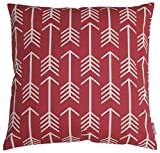 JinStyles Cotton Canvas Arrow Accent Decorative Throw Pillow Cover (Red, White, Square, 1 Cover for 18 x 18 Inserts)