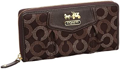 Coach Signature Madison Dotted Accordion Zip Around Wallet 44365 Brown