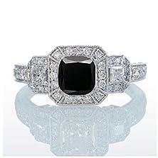buy 2 Carat Princess Cut Trilogy Black Diamond And Diamond Vintage Halo Engagement Ring On 10K White Gold