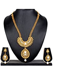 Lady Touch Long Traditional Pearl American Diamond Gold Plated Necklace Set With Earring For Women