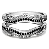 Black And White Cubic Zirconia Double Infinity Wedding Ring Guard Enhancer