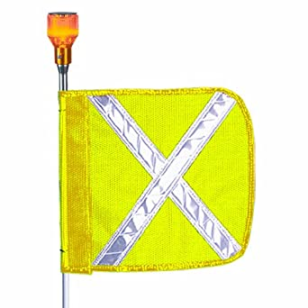 Flagstaff FS12 Safety Flag with Reflective X and Light, Male Quick Disconnect Base