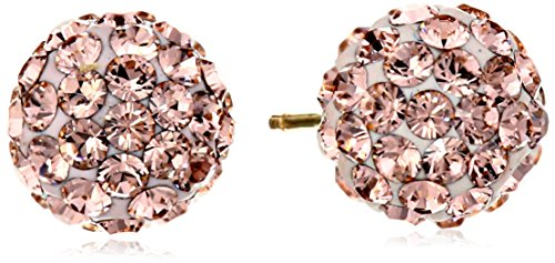 14k Yellow Gold Rose Swarovski Elements Crystal Button