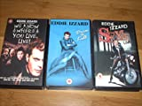 Collection of (3) EDDIE IZZARD Videocassettes: WE KNOW WHERE YOU LIVE. LIVE!, DRESS TO KILL, and the rare SEXIE LIVE. vhs Videocassettes PAL format