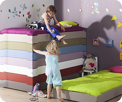 Machambredenfant - Pack 2 Lits Enfants Empilables Taupe et 2 Matelas