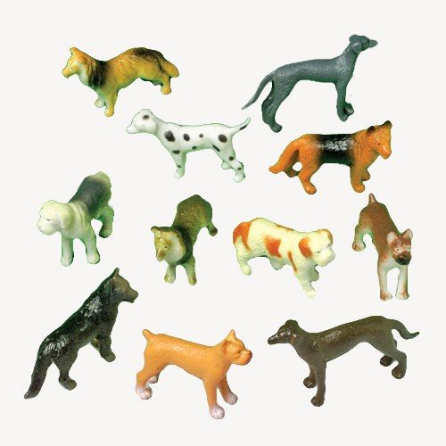 12 Mini Plastic DOG Figures/PUPPY TOYS/Birthday PARTY FAVORS/Prizes/CUPCAKE Toppers/Teacher Rewards