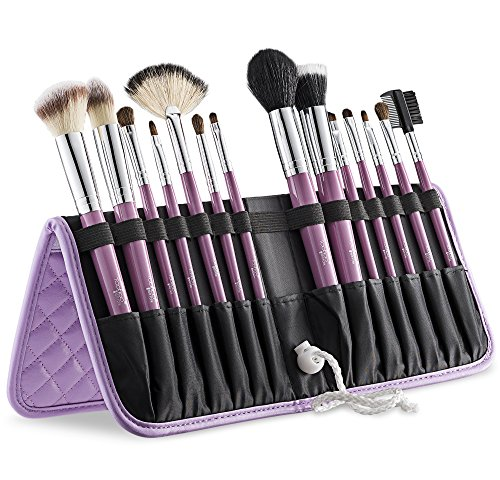Best Deal Of 2016 Tootloo® 14 Piece Professional High Quality Makeup Brush Set With Plush Textured Leather Standing Easel Case With A Free Blender Sponge (Lavendar) (Make Up Bush Mac compare prices)
