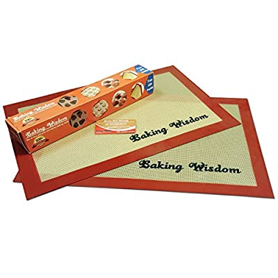 Non-Stick Silicone Baking Mat Set of 2 - Highly Durable, Anti Slip, Heat Resistant. Bake Cookies, Pastries, Cakes, Candies, Buns and Breads
