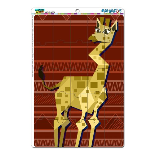 Graphics And More Geometric Giraffe Red Mag-Neato'S Novelty Gift Locker Refrigerator Vinyl Puzzle Magnet Set front-569052