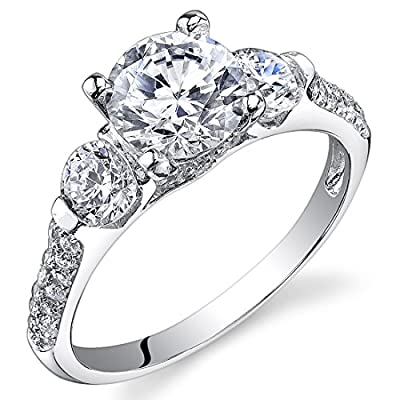 Revoni Sterling Silver 3 Stone Round Cut Simulated Diamond Engagement Ring,