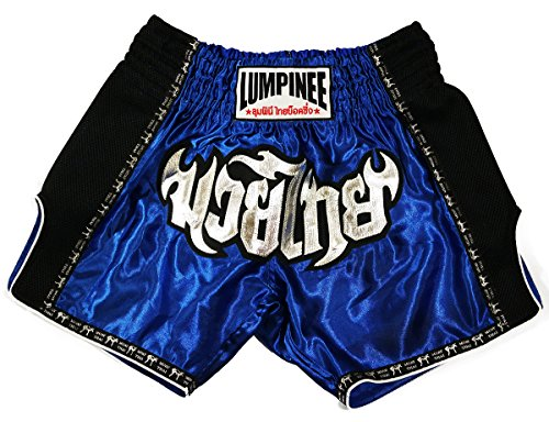 LUMPINEE Blu Retro Muay Thai pantaloncini per Kick Boxing Lotta lumrto-013, Uomo donna Bambino, Red/Blue, XL