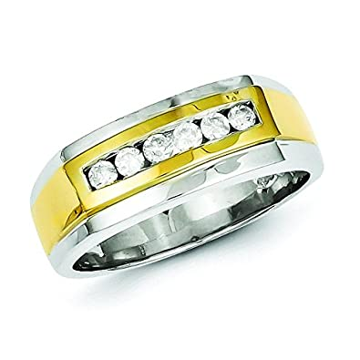 Sterling Silver With 10k Gold Diamond Mens Ring - Ring Size Options Range: R to V