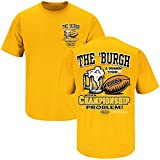Pittsburgh Football Fans -The 'Burgh, A Drinking Town w/Championship Problem gold t-shirt (3XL)