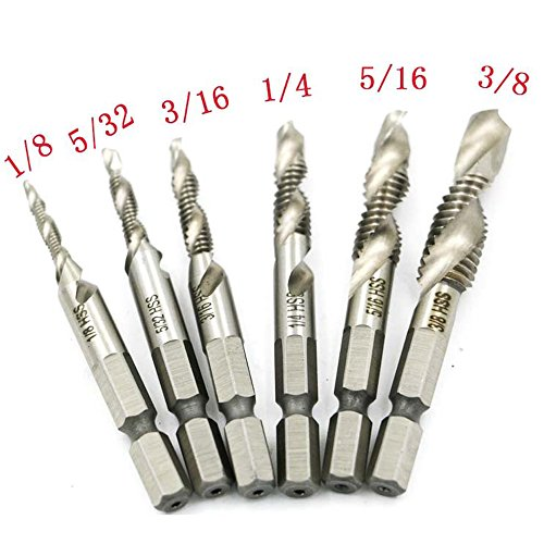 RUIMI Drill Tap Combination Bit Deburr Countersink Screw Hole 1/4 Hex Shank 6 Pieces 1/8'' - 3/8'' (Drill Bit And Tap compare prices)
