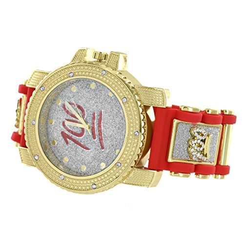 100 Points Emoji Watch Illusion Dial Simulated Diamonds Red Bullet Design Strap