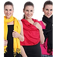 New Fashion Stole Plain Pashmina Shawl Wrap Top Quality 100% Viscose For Women's & Girl's Pack Of 3