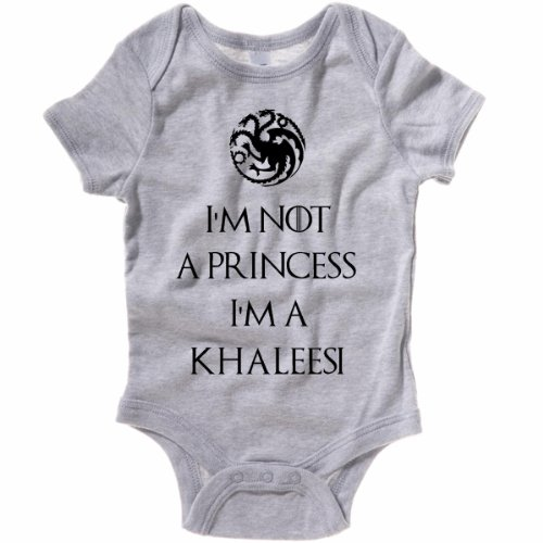 Im Not A Princess Im A Khaleesi Baby One Piece Creeper (24 Months, Heather Gray) front-760348