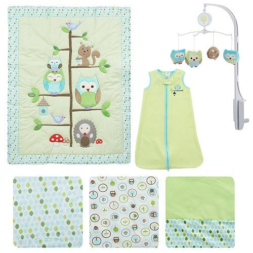 Just Born Babywise 6 Piece Baby Crib Bedding Set - comforter, fitted sheet, dust ruffle, musical mobile, wearable blanket and changing pad cover.