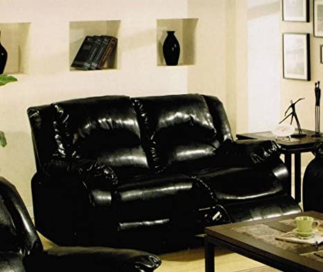 Recliner Loveseat Sofa in Black Bycast Leather