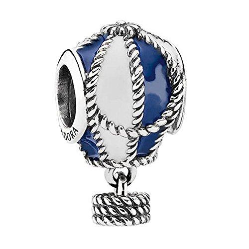 Pandora Hot Air Balloon Charm in Sterling Silver White & Blue Enamel, 791145ENMX
