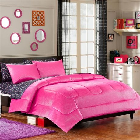 Your Zone Foil Print Mini Bedding Comforter Set - Pink Reversible front-595986