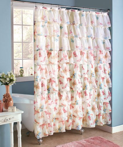 beautiful springtime ruffled tier semi sheer bohemian french pretty layered bath shower curtain decor white colorful butterflies spring bathroom accent