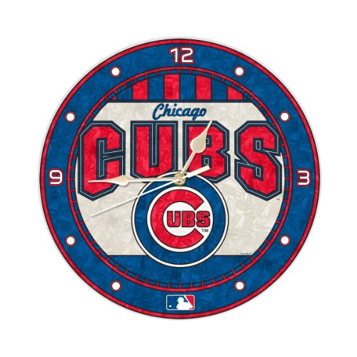 MLB Chicago Cubs 12-Inch Art Glass Clock at Amazon.com