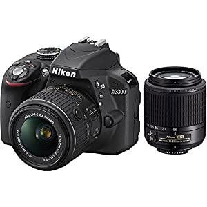 Nikon D3300 24.2 MP CMOS Digital SLR with AF-S DX NIKKOR 18-55mm f/3.5-5.6G VR II Zoom Lens (Black) (Certified Refurbished)