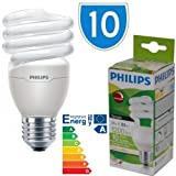 10x Philips Dimmable Spiral Tornado Low Energy Saver Light Bulb 20w = 80w E27 Lamps Light Bulbs Lamp Low Energy Saver Bulb Lamp Saving CFL Lamps Direct Incandescent Replacement Long Life 10,000 hours
