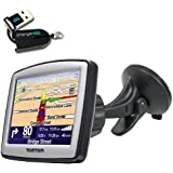 ChargerCit OEM Windshield Suction Mount KIT for TOMTOM XL 325 325s 330 330S 335 335S 340 340s 350 350s ONE 125 130 130s 140 140s XXL WTE M LIVE EASYPORT GPS Navigator with FREE ChargerCty Micro SD Card Reader. ***Manufacture Directl Replacement Warranty***