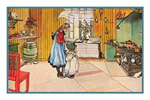 Swedish Carl Larsson In The Kitchen Counted