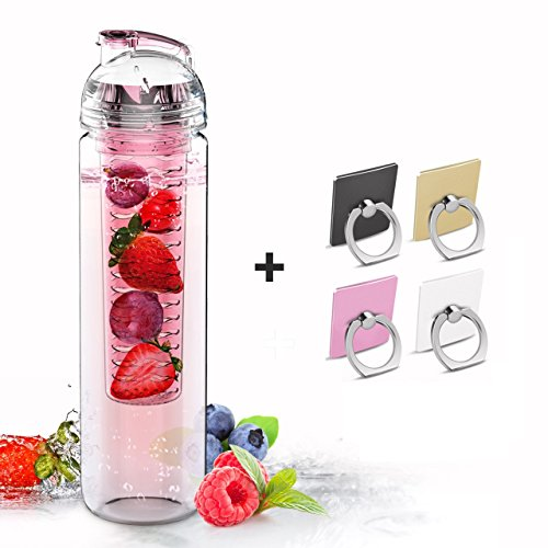 SH&H Tritan Fruit Infuser Water Bottle, Pink, 27 oz (Glass Water Dispenser Fridge compare prices)
