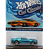 HOT WHEELS COOL CLASSICS BLUE 10 FORD SHELBY GT500 SUPER SNAKE WITH PICTURE OF ORANGE CAR ON PACKAGE