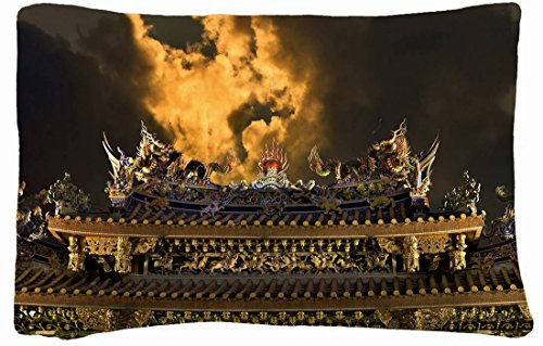 Microfiber Peach Queen Size Decorative Pillowcase -City China Building Roof Images Sky Clouds Night front-772634
