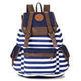 Unisex Fashionable Canvas Backpack School Bag Super Cute Stripe School College Laptop Bag for Teens Girls Boys Students - Blue Stripe