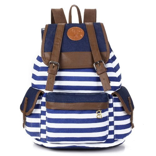 Unisex Fashionable Canvas Backpack School Bag Super Cute Stripe School College Laptop Bag for Teens Girls Boys Students – Blue Stripe