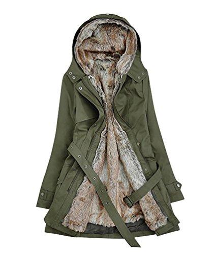 YOUJIA Donna Cappotto d'inverno Spesso Caldo con Cappuccio Lungo Giacca Parka con cintura, Army Green, Medium