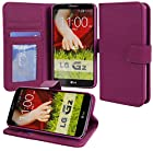 myLife Dark Magenta Purple {Professional Design} Faux Leather (Multipurpose - Card, Cash and ID Holder + Magnetic Closing) Folio Slimfold Wallet for the LG G2 Smartphone (External Textured Synthetic Leather with Magnetic Clip + Internal Secure Snap In Closure Hard Rubberized Bumper Holder)