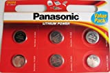 "Panasonic CR2032 Battery Lithium cr-2032 3V Coin Cell pack of 6 batteries""panasonic brand name batteries"" exp. date 2022"