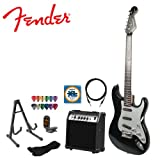 Fender Electric Stratocaster Guitar Kit with Amp, Strap, Stand, Strings, Tuner, Cable and Pick Sampler