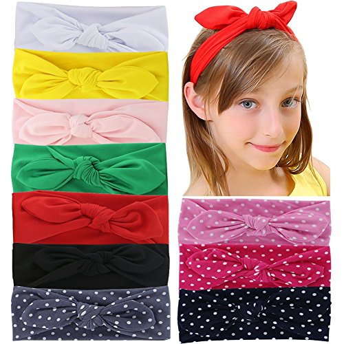Qinghan 10pcs Baby Girl Headbands Turban Hair Bows For Girls Kids Teens