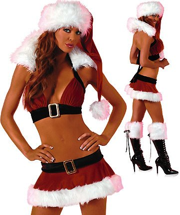 Sexy St Nick - Women's Sexy Christmas Costume Lingerie Outfit:   Christmas Lingerie