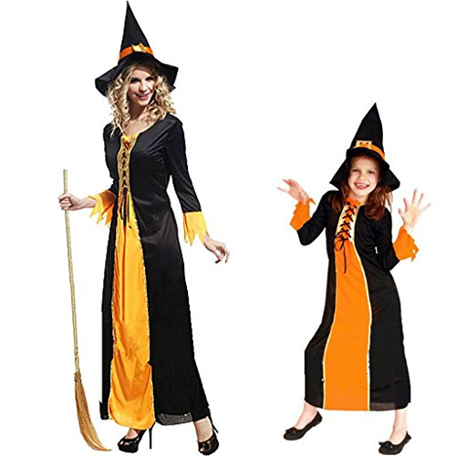 SUNDAYROSE Halloween Witch Costume Cosplay Parentage Clothes with Besom