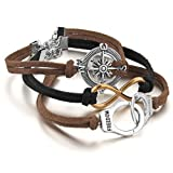 Justeel Men,Women Alloy Genuine Leather Bracelet Link Wrist Gold Silver Black Brown Compass Handcuffs Infinity Punk Rock (with Gift Bag) (Width: 0.55