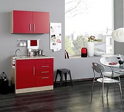 Minikuche Hochglanz Rot 100 cm mit Geräten & Spule - Vancouver