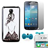 Poposh 3IN1 Mobile Phone Accessories For Samsung Galaxy S4 Mini i9190 Hard Back Case Cover Skin Shell Sketch Girl Shadow+ 1x Bling Anti Dust Plug Earphone Jack Cap Bow Tie (Random Color) + 1X Screen Protector LCD Guard Film Clear Crystal- Black White
