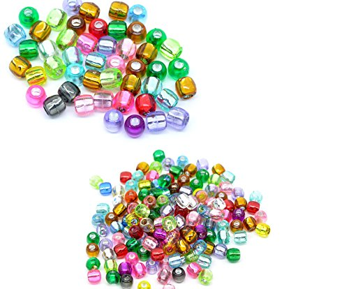 600 Mixed Multicolor Crafts Foil Pony Beads 7x7mm, sold per pack of 300