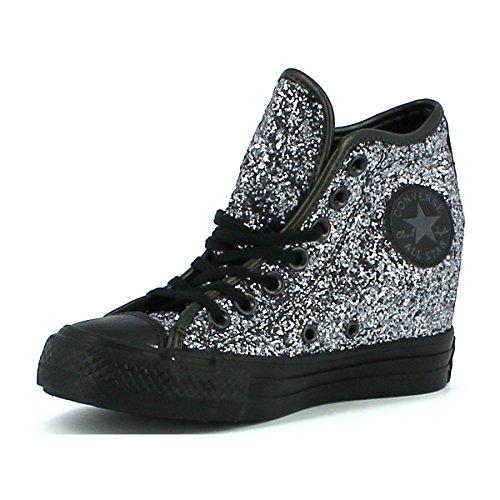 Converse - Converse All Star Donna Scarpe Sportive Zeppa Glitterate Lux Mid - Argento, 38