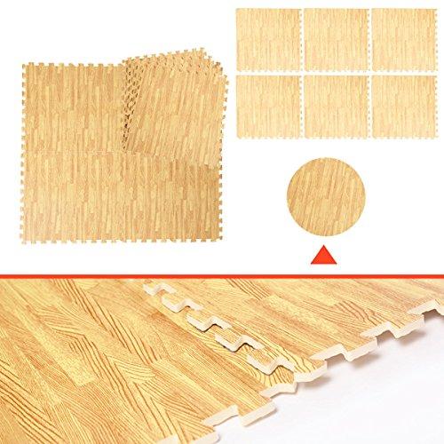 [48 Sq Ft EVA Foam Floor Interlocking Mat Show Floor Gym Mat Wood Color] (Mini Me Baby Costume Uk)