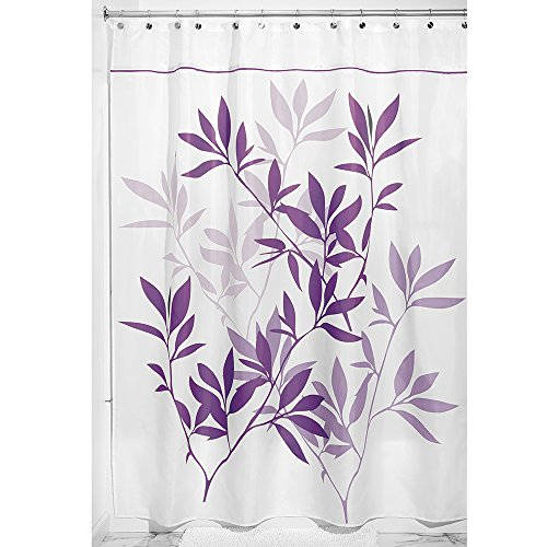 InterDesign Leaves Fabric Shower Curtain Long 72 Inch By